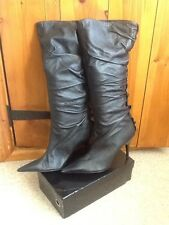 UNBRANDED Black Size 6 Leather Knee High Pull On Stiletto High Heel Boots BN