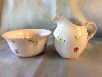 Plant Tuscan Fine English Bone China Creamer Sugar Set Bowl Pink Flower Floral