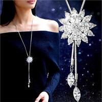 Mode Damen Kristall Strass Schneeflocke Anhänger Lange Pullover Kette Halskette