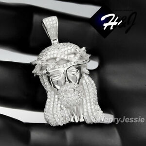 MEN 925 STERLING SILVER ICY DIAMOND BLING JESUS FACE SILVER CHARM PENDANT*SP8