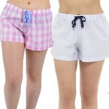 Ladies Woven Check Lounge Shorts Sizes 8-22 Pyjamas Bottoms PJs 100% Cotton