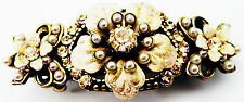 Michal Negrin Nude Pearl Peach Vintage Style Crystal Hair Clip Hairpin Barrette