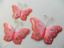 Butterfly Wall Art Ornament - Metal Butterflies Wall Hanging - Pink - Set of 3