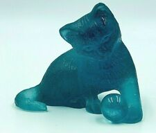 DAUM CRYSTAL CAT WITH BALL IN BLUE, CHAT BLEU - NIB, SIGNED