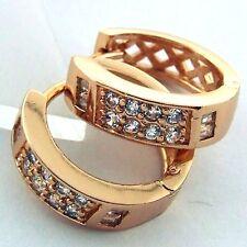 EARRINGS HUGGIE HOOP REAL 18K ROSE G/F GOLD DIAMOND SIMULATED DESIGN FS3AN587