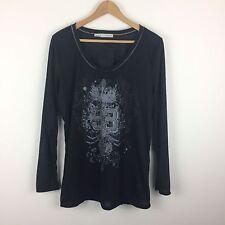 MAURICES plus size 2 2X black rhinestone embellished long sleeve top shirt