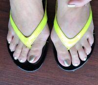 Neon Yellow Thong Flip Flop Sandals Carlos Santana Sz 6.5 L Foot Sz 7 R Foot