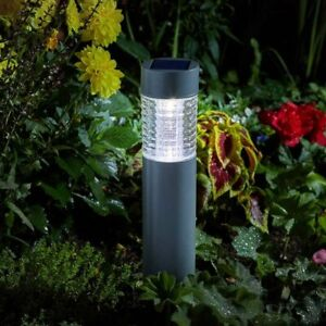 Large Solar Bollard Light 10 Lumen Stainless Steel Garden Patio Path Stake