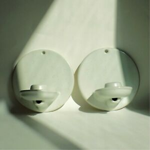 Pair Of Ceramic White Speckled Wall Sconces