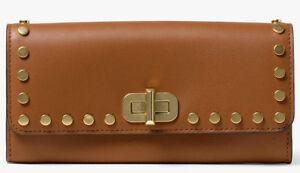 Michael Kors Jenkins Stud Sullivan Large Carryall Wallet Acorn Brown Gold NWT