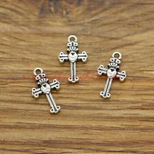 50 Cross Charms Religious Church Faith Christian Charms Antique Silver 10x17 380