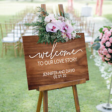 Welcome Wedding Sign - Personalised Wooden 6mm Thick Sign with 3 Colour Options