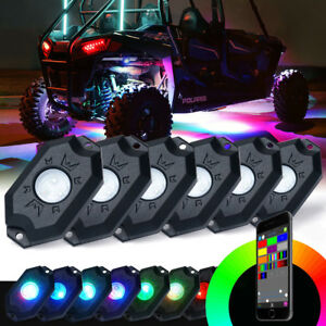 6 PCS RGB LED Rock Lights Multi-Color Bluetooth For Underglow Off Road Jeep UTV