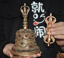 Bronze 24k gold silver Filigree Inlay jade gem Exorcism Dorje Vajra Phurpa Bell