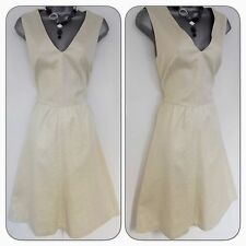 Stunning French Connection Cream & Gold Fleck Evening Occasion Dress Size 16