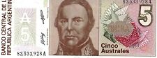 ARGENTINA 5  AUSTRALES CURRENCY UNC