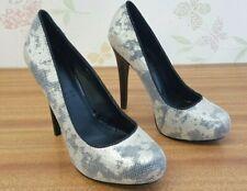 Silver + Camo Shimmer Sparkle Platform Heels Size 6 by Shoe Box - Wedding Prom