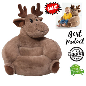 Animal Chair Plush Moose Kids Chair Comfy Child Toy Playroom Furniture Polyester
