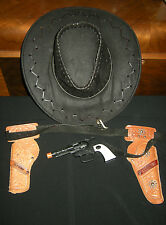 Sheriff Cowboy Costume Accessories, Genuine Leather Western Hat, Holster Belt+