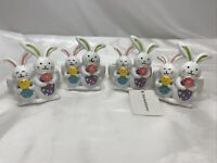 Blossoms & Blooms Bunny Rabbit Napkin Rings Easter Spring Resin Set Of 4