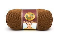 Lion Brand Yarn Cotton-Ease Yarn Hazelnut Brown 1 Skein of Yarn Discontinued