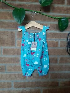 Lilly and Sid Baby Girl Flamingo Romper Playsuit 3-6 Months Designer BNWT