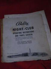 FLIPPER Night Club BINGO schema originale & Manuale FLIPPER BALLY