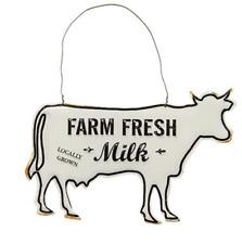 FARM Fresh Milk Cow Shape Metal Sign Country Prim Distressed NWT 8 x 4.75