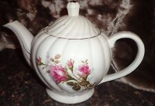 """MUSICAL TEAPOT CHINA HAND PAINTED ROSES  1950'S PLAYS """"TEA FOR TWO"""" VINTAGE"""