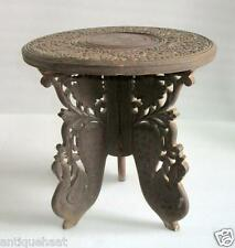 Antique Old Collectible Rare Hand Carved Wooden Center Side Folding Table Indian