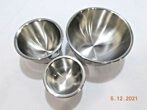 NEW OLD STOCK UNMARKED SALADMASTER 3 pc MIXING BOWL SET STAINLESS STEEL