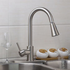 US Kitchen Pull Out Spray Faucet Swivel Spout Sink Mixer Taps Brushed Nickel