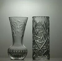 BEAUTIFUL DESIGN CUT GLASS CRYSTAL VASES SET OF 2
