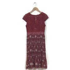 Anthropologie Plenty Tracy Reese Dress 4 Arcadia Midi Red Lace Pleated Women's