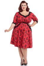 VOODOO VIXEN NWT Red Black Cat Rockabilly Flare Dress Pinup Girl 1X 20W