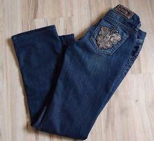 GUESS Premium DareDevil Boot Cut Jeans w/ Fleur-de-Lis, Dark Wash, Size 24 Waist