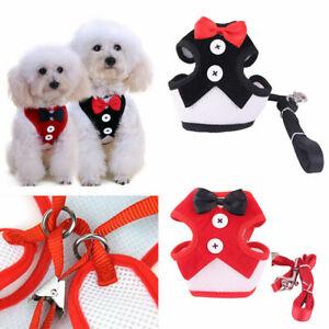 Pet Clothes Puppy Dog Cat Mesh Vest Wedding Tuxedo Party Harnesses Leash Set