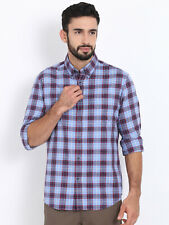 Shirt Indian Terrain Men Blue and Maroon Regular Fit Checked Casual