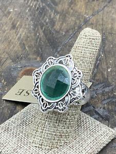 Barse Kimono Ring- Emerald Quartz & Silver Overlay- 8- New with Tags