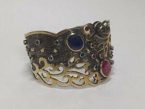BORA YASAR Blackened Ruby Sapphire Corundum Cuff Bracelet