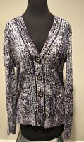 Tory Burch Cardigan Linen Blend Purple Animal Print Size L Career Wear To Work
