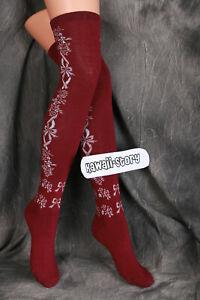 So-49 Dark-Red Bow Flowers Lolita Socks over the Knee Socks Harajuku
