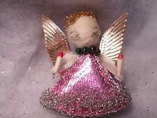 VINTAG CHENILLE Cardboard ANGELS Spun Cotton Metallic CHRISTMAS Ornaments Japan