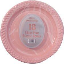 """18 x Piastre in Plastica Rosa 18cm 7"""" Festa di Compleanno Forniture stoviglie Disposables"""