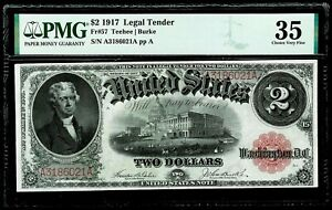 1917 US $2 UNITED STATES LEGAL TENDER RED SEAL NOTE PMG CHOICE VERY FINE 35