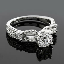 1.25CT Round Cut Diamond Solitaire Engagement Ring SI1/E 14K White Gold Enhanced