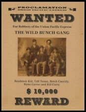 Butch Cassidy & The Wild Bunch Wanted Poster Reprint On 100 Year Old Paper *P001
