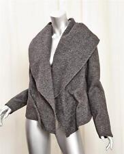 KAUFMANFRANCO Black+White Wool Tweed Draped Collar Raglan Fitted Jacket 8/44