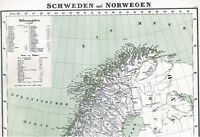 Landkarte SCHWEDEN und NORWEGEN 🐺🐾🦊🐿️ORIGINAL Lithographie 1860