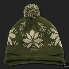 Olive Snowflake Roll Up Pom Beanie Stocking Cap Winter Hat  Beanie Knit